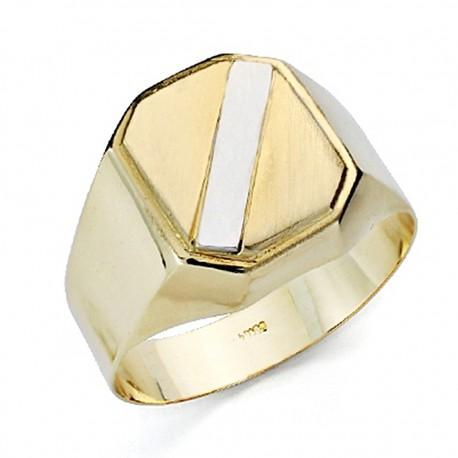 Sello oro bicolor 18k caballerobanda hueco [7529]