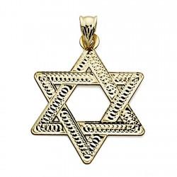 Colgante oro 18k Estrella David 35mm. tallada unisex