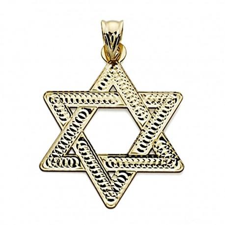 Colgante oro 18k Estrella David 35mm. tallada [7563]