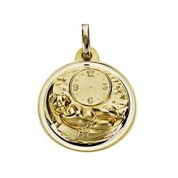 Medalla oro 18k niño hora 18mm. cielo estrellas bisel