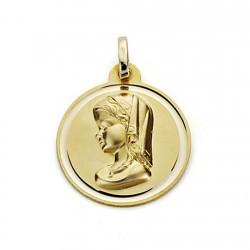 Medalla oro 18k Virgen Niña 18mm. bisel [7568]