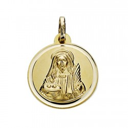 Medalla oro 18k Santa Lucía 18mm. bisel [7573]
