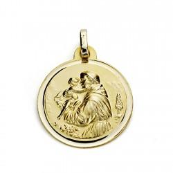 Medalla oro 18k San Antonio 18mm. liso bisel