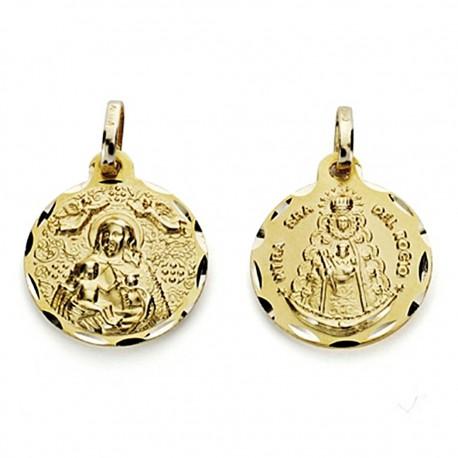 Medalla oro 18k escapulario Virgen del Rocío y Cinta 16mm. [7576]