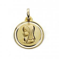 Medalla oro 18k Virgen Niña 18mm. bisel [7577]