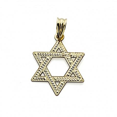 Colgante oro 18k Estrella David 23mm. tallada [7582]