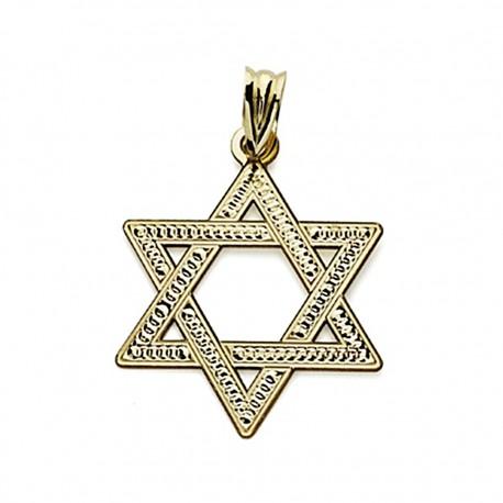 Colgante oro 18k Estrella David 22mm. tallada [7583]