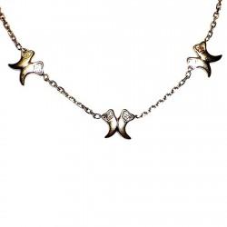 Gargantilla chapada oro cadena forzada 42,5cm. 5 adornos [4631]