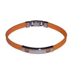 Pulsera acero inoxidable 20cm. caucho naranja chapa motivos círculos