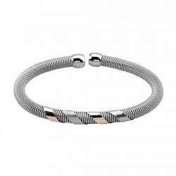 Pulsera brazalete malla redonda acero y oro abierta [5300]