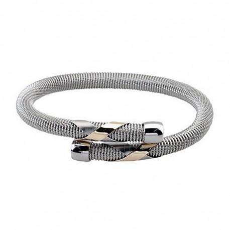 Pulsera brazalete malla redonda acero y oro cruzada [5301]