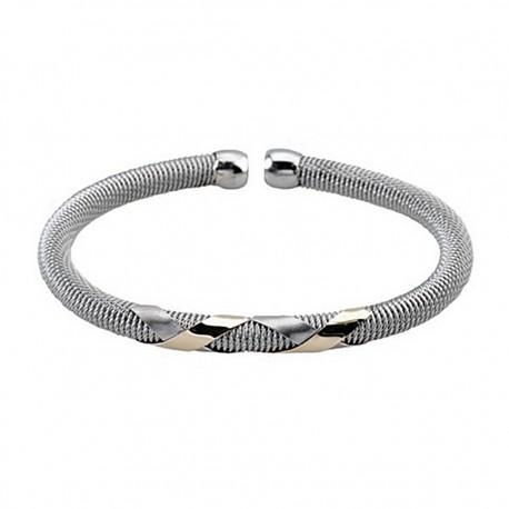 Pulsera brazalete malla redonda acero y oro abierta [5302]