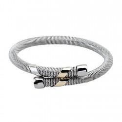 Pulsera brazalete malla redonda acero y oro cruzada [5307]