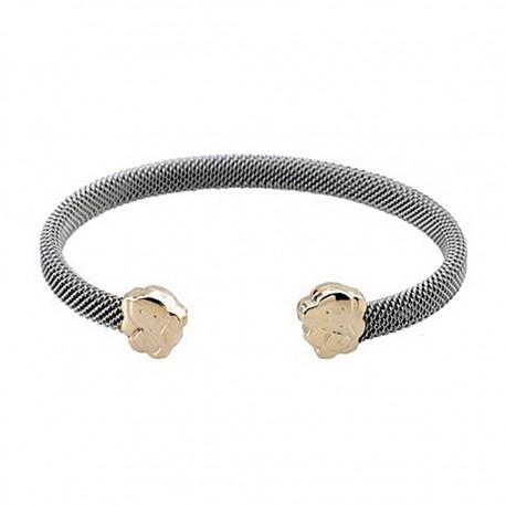 Pulsera brazalete malla acero y oro elefante abierta [5308]