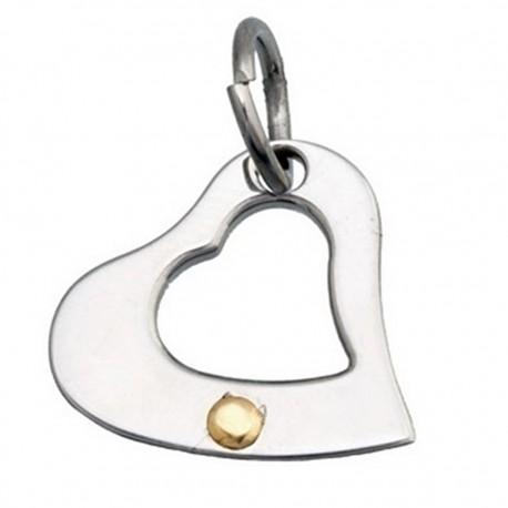 Colgante acero y detalle oro 18k corazón [4974]