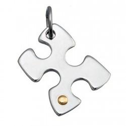 Colgante acero y detalle oro 18k puzzle [4975]