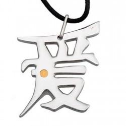 Colgante gargantilla acero detalle central oro 18k 28mm. símbolo amor chino