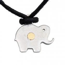 Colgante acero y detalle oro 18k elefante [4991]