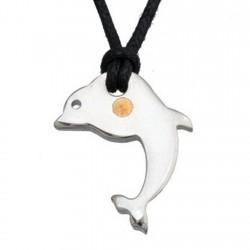Colgante acero y detalle oro 18k delfín [4994]
