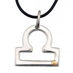 Colgante acero y oro 18k horóscopo zodíaco Libra [5000]