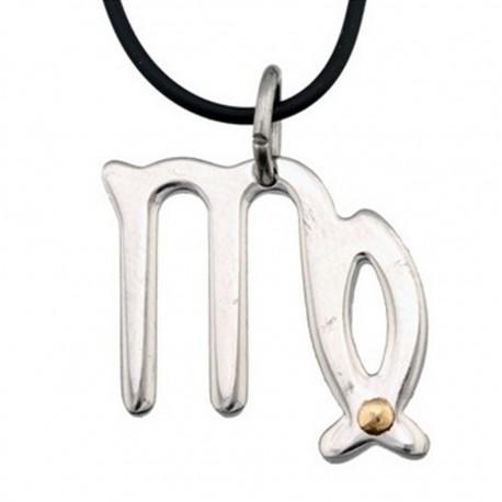 Colgante acero y oro 18k horóscopo zodíaco Virgo [5001]