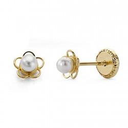 Pendientes oro 18k bebé perla flor calada 5mm. [7683]