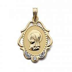 Medalla oro 18k Virgen Niña circonita cerco calado ovalada [7684]