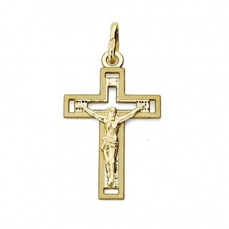 Cruz crucifijo oro 18k Cristo calada 22mm. [7686]