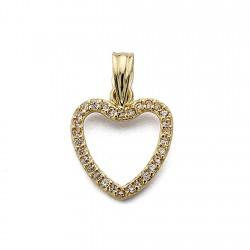 Colgante oro 18k corazón circonitas 14mm. [7693]