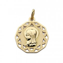 Medalla oro 18k Virgen Nina calada 18mm. [7694]