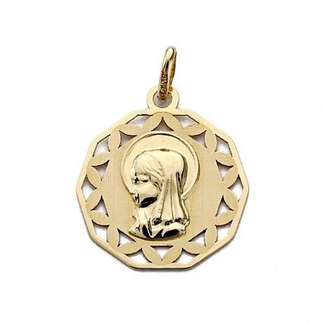 Medalla oro 18k Virgen Niña calada 18mm. [7694]