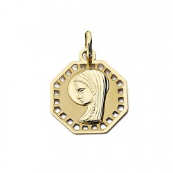 Medalla oro 18k Virgen Nina octagonal calada 17mm. [7698]