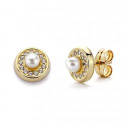 Pendientes oro 18k perlas circonitas cierre presión [7704]
