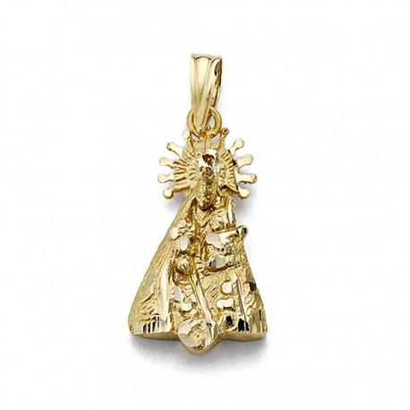 Colgante oro 18k silueta Virgen Desamparados 12mm. [7748]