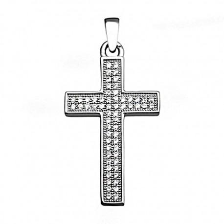 Cruz plata Ley 925m 26mm. circonitas rectangular [7807]