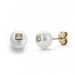 Pendientes oro 9k perla cultivada 6mm. circonita presión [7848]