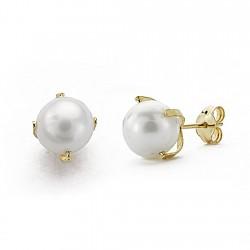 Pendientes oro 18k perlas imitación 7mm. 4 patillas presión [7896]
