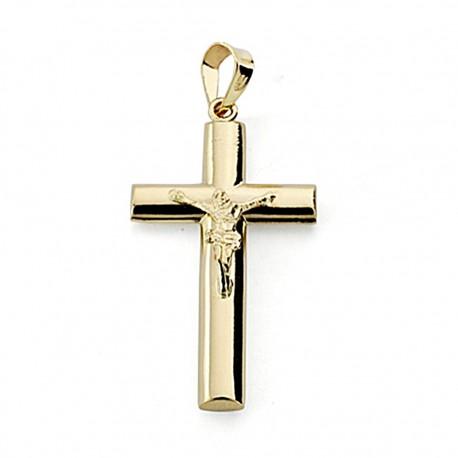 Crucifijo oro 18k Cristo 27mm. palo ovalado [7905]
