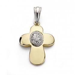 Colgante oro bicolor 18k cruz 23mm. centro circonitas círculo mujer