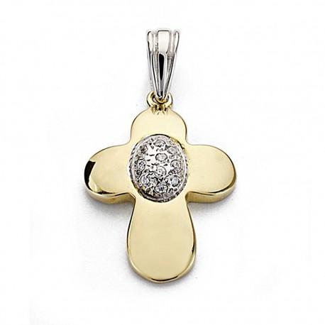 Colgante oro 18k cruz bicolor 23mm. circonitas [7907]