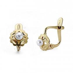 Pendientes oro 18k perlas 6mm. palillo catalán [7933]