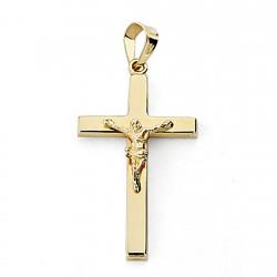 Crucifijo oro 18k Cristo cruz 27mm. palo rectangular plano unisex