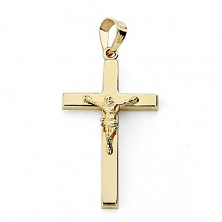 Crucifijo oro 18k Cristo 27mm. palo rectangular [7937]