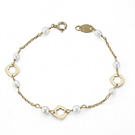 Pulsera oro 18k bebé 13,5cm. perlas cultivadas reasa [7963]