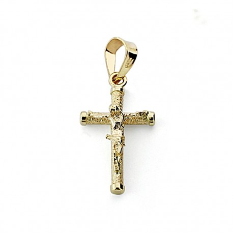 Crudifijo oro 18k Cristo 16mm. palo redondo diamantado [7964]