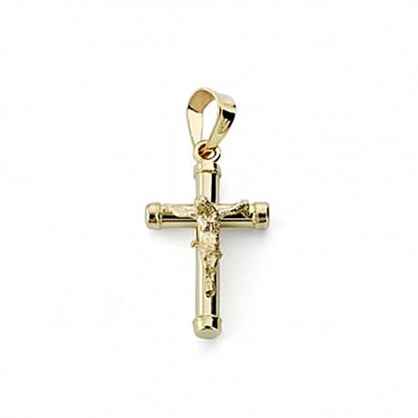 Crudifijo oro 18k Cristo 19mm. palo redondo liso chatones [7968]