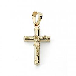 Crucifijo oro 18k Cristo cruz 18mm. hueca palo redondo liso terminaciones chatones unisex