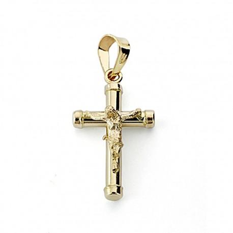 Crudifijo oro 18k Cristo 18mm. palo redondo liso chatones [7969]