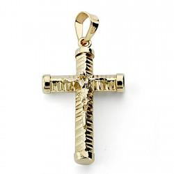 Crucifijo oro 18k Cristo cruz 24mm. hueca palo tallado unisex chatones lisos terminaciones