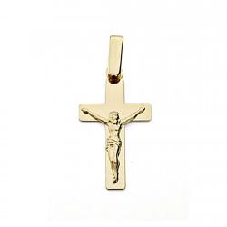 Crucifijo oro 18k Cristo cruz 22mm. plana lisa unisex
